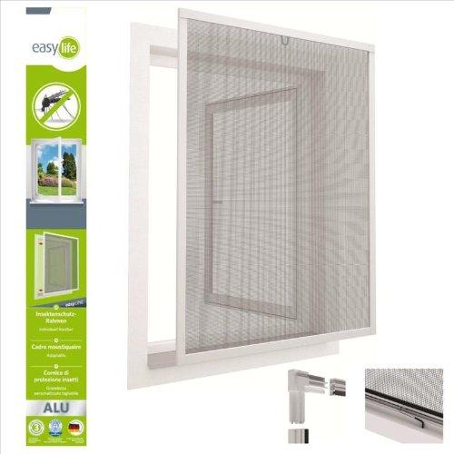 Insektenschutzfenster Alu Fliegengitter Fenster 80 x 100 cm Weiss