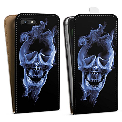 Apple iPhone X Silikon Hülle Case Schutzhülle Halloween Skull Rauch Downflip Tasche weiß