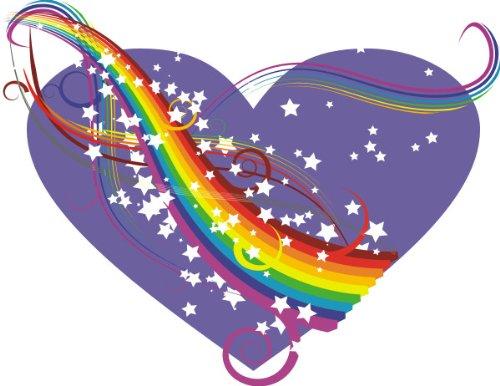 Indigos 4051719736557 Wandtattoo MF212 Regenbogen Liebe Herz Hippie 60 x 46 cm - Regenbogen-farbigen Sternen