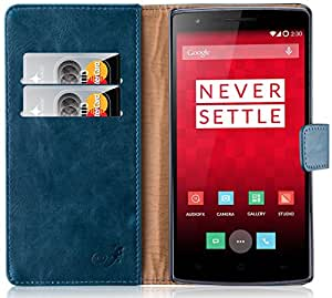 best deals on f5be3 cf7b7 OnePlus One Case JAMMYLIZARD Retro Leather Wallet Flip Cover for OnePlus  One Teal