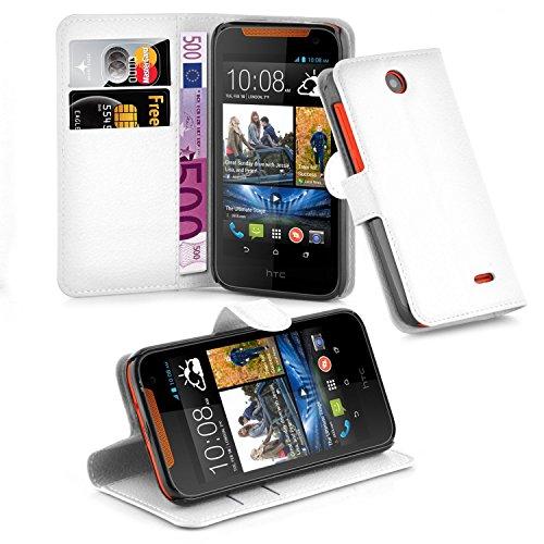 Cadorabo Hülle für HTC Desire 310 - Hülle in ARKTIS WEIß – Handyhülle mit Kartenfach und Standfunktion - Case Cover Schutzhülle Etui Tasche Book Klapp Style