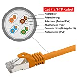rocabo 30m CAT 7 - Patchkabel Netzwerkkabel LAN-Kabel - 2x RJ45 Netzwerk-Stecker - Ethernet Gigabit LAN Switch Router - S/FTP (PiMF) Schirmung - LSZH Halogenfrei - orange -