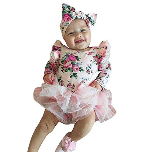 Amlaiworld baby Mädchen blumen drucken Spieler tutu langarm bowknot kleider ,6-24Monate (24 Monate, Rosa) (Bowknot Drucken)