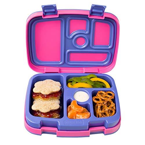 Bentgo Kids Brights u2013 Kinder Lunchbox/Bento Box/Brotdose mit 5 Unterteilungen, auslaufsicher (Fuchsia)