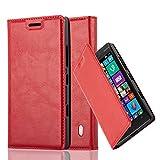 Cadorabo Hülle für Nokia Lumia 929/930 - Hülle in Apfel ROT – Handyhülle mit Magnetverschluss, Standfunktion und Kartenfach - Case Cover Schutzhülle Etui Tasche Book Klapp Style