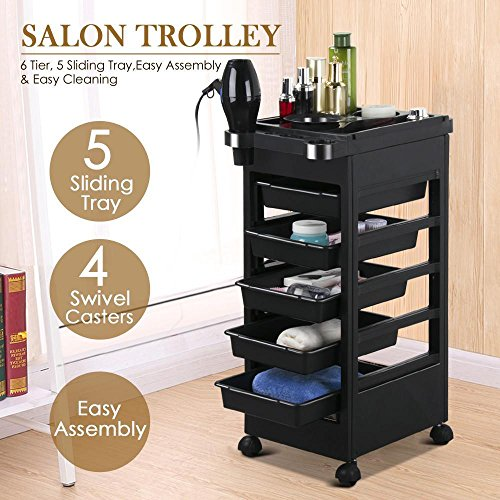 Popamazing Salon SPA Trolley Storage Cart Coloring Beauty Salon Hair Dryer Holder W/wheels