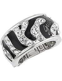 Guess Damen Fingerring Metall Silber/Schwarz UBR71201-S