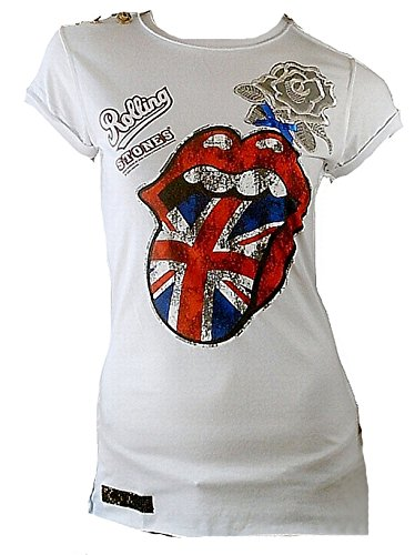 Amplified Elagantly Waisted Damen T-Shirt Weiss Official The Rolling Stones Union Jack UK England Zunge Vintage M (Label Union Vintage)