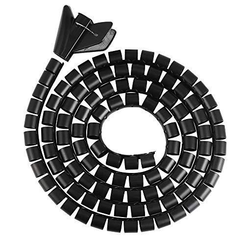 BUZIFU 2 Stück Kabelschlauch 3Meters Flexibles Spiralschlauch mit 2 Fädelhilfe Universal Kabelspirale für Kabelorganisation, Linieschwarz, Netzwerkkabel, Monitorkabel