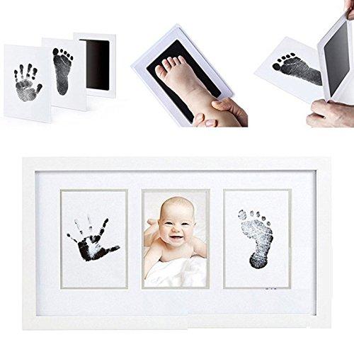 LawUza Baby Newborn Handabdruck Fußabdruck Tinte Pads Kit mit 2Weißen Karten ungiftig Schwarz -