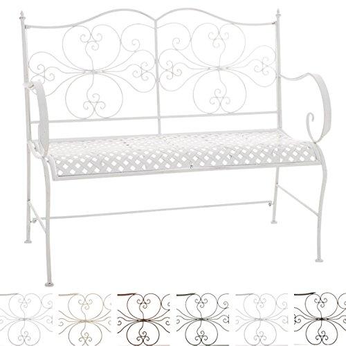 CLP 2er Garten-Bank ANNO V2 mit Armlehne, im Landhausstil, Metall Sitzbank (Eisen lackiert), grazile Form, stilvolle Verzierungen Antik-weiß