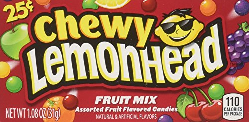 Chewy Lemonhead Fruit Mix Candy Boxes, Assorted Flavors, 0.8 Ounce Each (Pack of 24) (Lemonhead Candy)