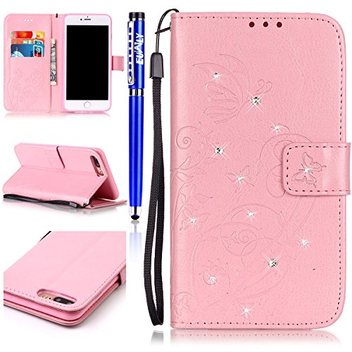 Custodia iPhone 7 Plus/iPhone 8 Plus (5.5), EUWLY Protettiva Cover Case in PU Pelle per [iPhone 7 Plus/iPhone 8 Plus (5.5)], Gillter Brillante Diamante Bling Strass Disegno PU Leather Custodia Case Rosa