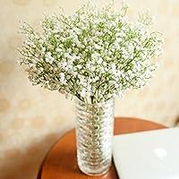 Momola 66pcs Gypsophila Artificial Flowers, Silk Wedding Party Bouquet Home Decor (White)