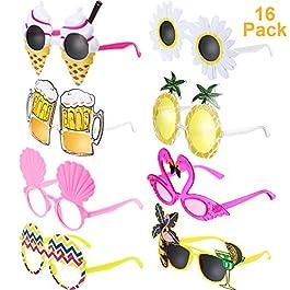 Chinco 16 Paia Hawaiian Tropicale Festa Occhiali da Sole novità Festa Divertente Occhiali Costume Occhiali da Sole per…