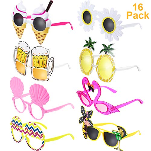 Chinco 16 Paar Hawaiian Tropical Party Sonnenbrillen Neuheit Party Lustige Brille Kostüm Sonnenbrille für Sommer Kostüm Party Requisiten, 8 Stil