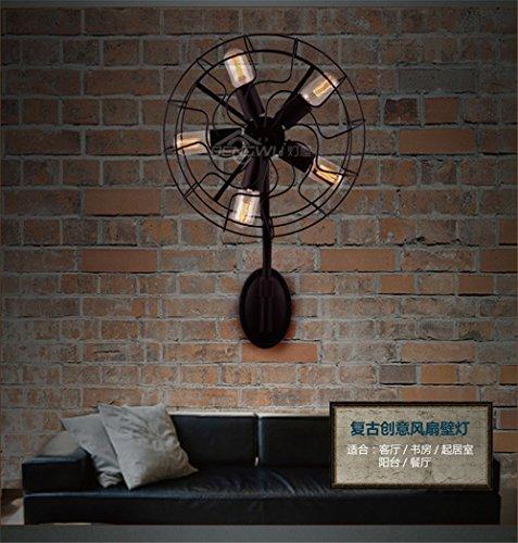 MDERTY Wandlampe LED Modern Wandlampen Bettseitig industriellen elektrischen Ventilator Innen Wandleuchten für Badlampe Wohnzimmer Schlafzimmer Treppenhaus Flur Wandbeleuchtung -