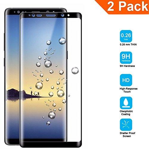 [2 Stück] Samsung Galaxy Note 8 Panzerglas Displayschutzfolie Premium 3D-Touch Vollbild Coverage Curved Edges Ultra-Klar Panzerglas Schutzfolie mit Härtegrad 9H für Samsung Galaxy Note 8 - Schwarz