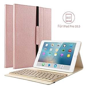 "iPad Pro 10.5 Tastatur Hülle, Kvago iPad 10.5 Case mit 7 Farbe Hintergrundbeleuchtung Ultra-dünn QWERTZ Bluetooth Tastatur Auto Schlaf/Aufwach Funktion für Apple iPad Pro 10,5"" Zoll, RoseGold"