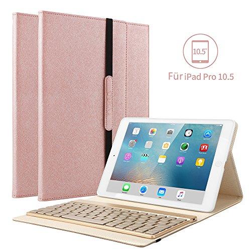 KVAGO Hülle Kompatibel mit iPad Air (3th Gen) 2019 & iPad pro 10.5 2017, mit 7 Farbe Hintergrundbeleuchtung QWERTZ Bluetooth Tastatur, Auto Schlaf/Aufwach für iPad Air 3 & ipad Pro 10.5, Rosegold (3 Mit Ipad Hintergrundbeleuchtung Case Tastatur)