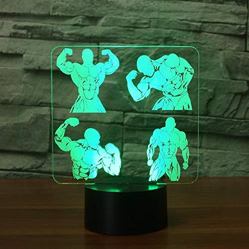 3D Luz Nocturna 7 colores cambiantes colección de culturismo luz nocturna 3D LED Muscle Man mesa escritorio lámpara noche sueño dormir regalos gimnasio decoración
