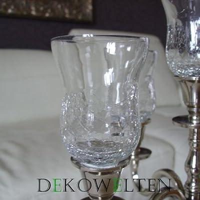 GLASAUFSATZ Glas für Kerzenleuchter Kerzenständer Crackle f. Teelicht Windlicht von Dekowelten von Dekowelten bei Lampenhans.de