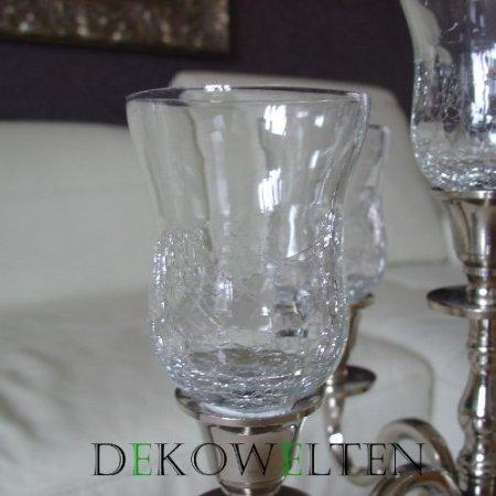 GLASAUFSATZ Glas für Kerzenleuchter Kerzenständer Crackle f. Teelicht Windlicht von Dekowelten