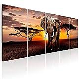 decomonkey | Bilder Afrika Elefant Tier 225x90 cm 5 TLG. Leinwandbilder XXL Bild auf Leinwand Vlies Wandbild Kunstdruck Wanddeko Wand Wohnzimmer Wanddekoration Sonenuntergang Landschaft Baum braun