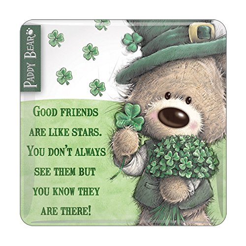 Paddy Bear Irish Designed Epoxy Magnet 'Good Friends Are Like Stars' Text -