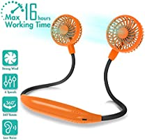 COMLIFE Portable Neck Fan, 2600mAh Battery Operated Ultra Quiet Hands Free USB Fan with 6 Speeds, Strong Wind, 360°...