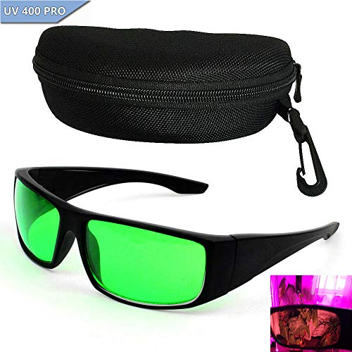 Grow Room Glasses Lichtschutzbrille für LED Pflanzenlampe, Grow Room Brille I&R und U&V-Schutzbrille mit Schutztasche Hardcase Brillenetui Goggles für Indoor Gewächshäuser Hydroponics Augengläse