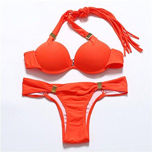 Donne Sexy Colore Fluorescente Halterneck Imbottito Push Up Bikini Costume da bagno Tankini Arancione