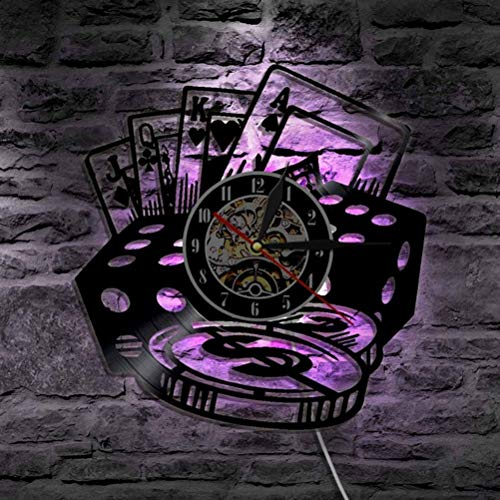 YNMB KS Poker Stars Karte Wanduhren Schallplatte Wanduhr mit LED-Blacklight Kreative 3D-Dekorative Hanging Black Watch Home Decor