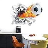 WONZOM Wandtattoo Durch die Wand, 3D-Fußball-Aufkleber