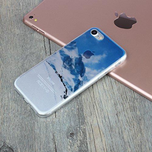 DBIT iPhone 7 Case, PU Pelle Flip Placcatura TPU Custodia Protezione Case Cover per Apple iPhone 7,Argento snow Mountain