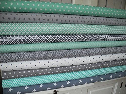 lottashaus-10x-stoff-mint-turkis-grau-sterne-stoffpaket-no1-stoffe-patchwork-shabby-chic