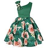Baiomawzh Vestidos Niña Verano-Vestido de Noche con Estampado Floral Falda El Hombro Falda Princesa Tutú Bowknot Bautizo Fiesta de cumpleaños Cóctel Dama de Honor Boda Ceremonia Dress 1-7 Años Chicas
