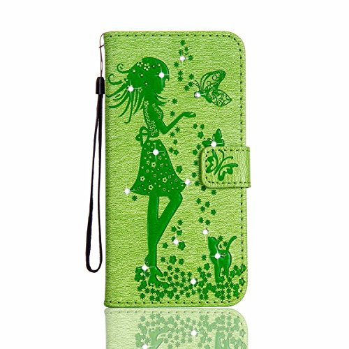 iPhone 6S Plus Custodia, iPhone 6S Plus Custodia Portafoglio, iPhone 6/6S Plus Custodia Pelle, JAWSEU 3D Goffratura Ragazza Gatto Fiore Diamante Lusso PU Leather Flip Cover Custodia per iPhone 6 S Plu Ragazza, Verde