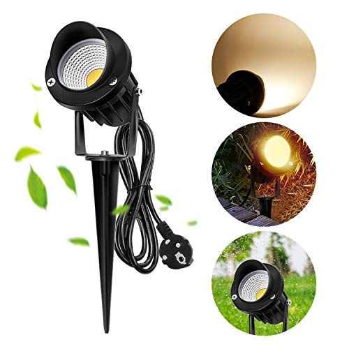 Luz LED de jardín Efflum, foco de 230V, con estaca, para césped, con cable de goma de 1,5m