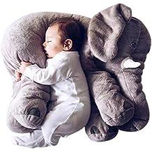 Kenmont elefante Cojín Dormido Animales elefante Almohada de algodón 100% novedad de peluche de juguete blando para decoración, regalos para niños niñito (gris)