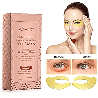 ALIVER Gold Collagen Eye Patches, Under Eye Mask, 24k Gold Eye Gel Pads for Puffy Eyes, Bags, Dark Circles, Wrinkles, Anti Aging Eye Pads,