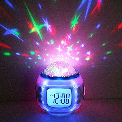 Estrellado LED Proyector Música Despertador con función Snooze para Kid's Bedroom 10,4 x 8,2 x 10,2 cm.
