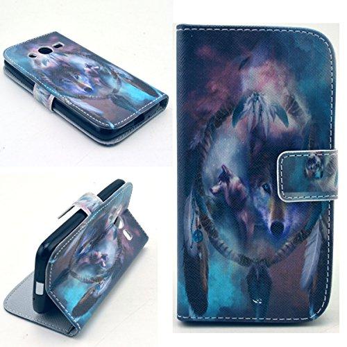 Dokpav® Samsung Galaxy Core LTE 4G SM-G386F/ Avant G386T Hülle,Ultra Slim Dünn Flip PU Leder Tasche Case Cover für Samsung Galaxy Core LTE 4G SM-G386F/ Avant G386T Mit Innen steckfächer für Karten-Wolf