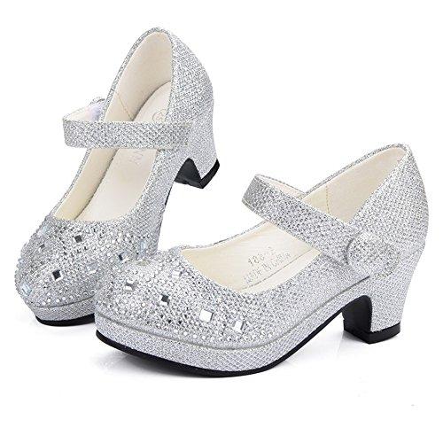 Tufanyu Mädchen Prinzessin Schuhe Kegelabsatz Glitter Shiny Strass Party Kleid Sandalen für Kleinkind & Kleinkinder Abschlussball ( Color : Silver , Size : 27 EU ) (Sandalen Kleinkind Kleid)