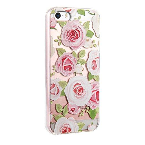 Voguecase® für Apple iPhone SE hülle, Schutzhülle / Case / Cover / Hülle / TPU Gel Skin (Aquarell Blätter) + Gratis Universal Eingabestift Pink Rose