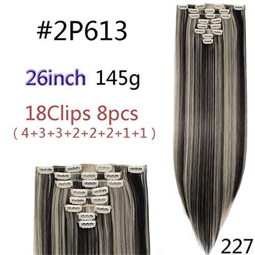 8 Teile/satz 29 Farben 18 Clips Lange Gerade Clip In Haarverlängerungen Synthetische Clips Haar Für Frauen Schwarz Haarteil 2P613 23-26Inch -