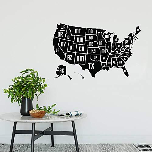 yhyxll USA Karte Wandaufkleber Aufkleber Vinyl Home Office Wanddekor Wandbild Moderne Kunst Karte der Amerika Abnehmbare S 66 cm x 42 cm - Der Usa-wand-kunst Karte