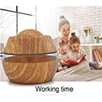 Spritumn 300ml Wood Grain Ultrasonic Humidifier Portable Air Aroma Essential Oil Diffuser with 7 Colour Changing LED Lights Improves Health, Skin, Mood, Sleep, Focus - Breath Better with Clean & Fresh Air (B)