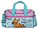 kleine Sporttasche mit Namen | inkl. NAMENSDRUCK | Motiv Spirit & Pferde in hell-blau |...
