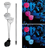 Lunartec Solar Blumentopf: Solar-LED-Gartendeko Regenbogen-Rose mit Farbwechsel-LED (Künstliche Pflanzen)
